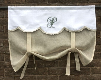 Victorian Embroidered Monogram, Sheer Linen Roll up Shade, Natural French Sash Window, 52 inch Length Bathroom Tie up Panel