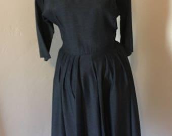 40's Charcoal Dress / World War II Dress / Gray Shirt Dress / 1940s Dress / Size 6 Size 8