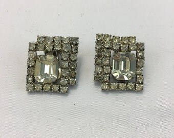 Gorgeous Vintage Square Rhinestone Clip On Earrings