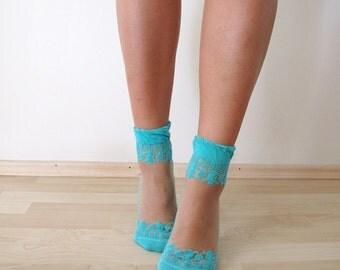 Green Lace Socks, Transparent Socks,crystal lacy socks, ultra thin, transparent top, cotton bottom, elegant shape