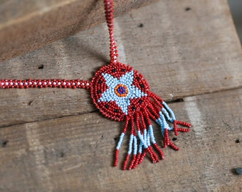 Beaded American Indian Style Star Necklace - Southwest Vintage 1990's Red Seed Bead - Bohemian Hippie Native - long necklace
