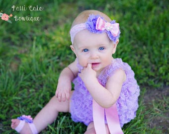 Baby Girls Rompers, 1st Birthday Romper Outfit, Lavender Romper & Headband, Photo Prop, Purple Lace Romper, Baby Romper, Little Girls Romper