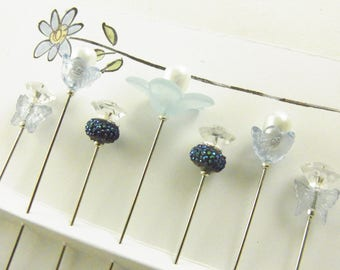 Fancy Sewing Pins Blue Daisy with Blue Butterflies