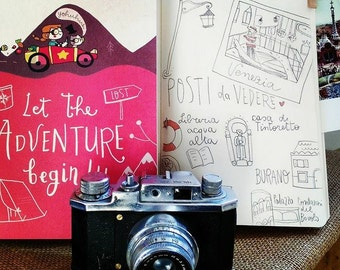 Illustrated notebook A5. travel journal: Let the adventure begin!