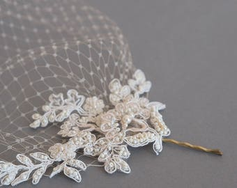 Lace birdcage veil, Champagne birdcage veil, Wedding veil, Lace hair piece, Bridal headpiece