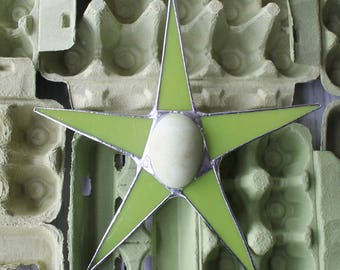 Auracana egg Stars- 10 inch art glass star with painted ceramic egg center