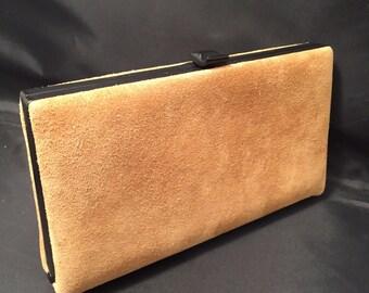 Suede Clutch Handbag, Shirl Miller Original, Black Metal Frame