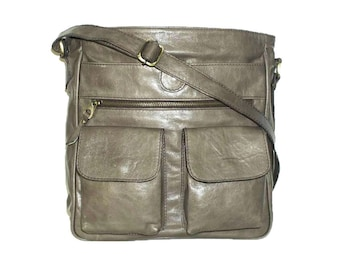 DISTRESSED Taupe Leather Messenger Bag Iris - Leather Cross-body Bag fits a 11 laptop