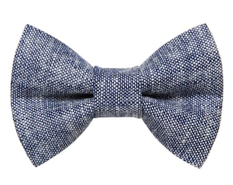 "Cat Bow Tie - ""The Project Manager"" - Blue Linen"