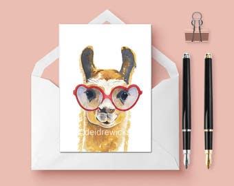 Llama Greeting Card - 5x7 Blank Card, Llama Watercolor, Artist Greeting Card, Animal Lover Gift