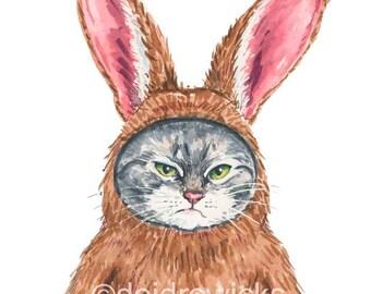 Cat Watercolor PRINT - 5x7 Watercolour, Bunny Rabbit, Angry Cat, Funny Cat Art, Rabbit Costume, Nursery Art