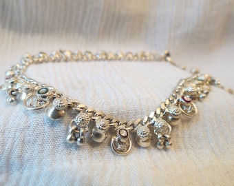"""Belly Dancer Anklet with Dangles, Bells & Inlay Sterling Silver 11"""""""