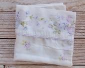 Vintage Pillowcase / Purple Floral Print / Vintage Bedding / Linens