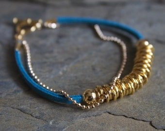 Gold bracelet, gold beaded bracelet, gold link bracelet, simple gold bracelet, turquoise gold bracelet, gold leather bracelet, vegan jewelry