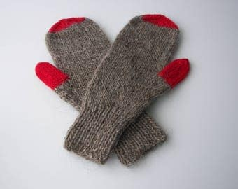 Hand Knit ICELANDIC Lopi WOOL Color Block Mittens in Gray Red / Thoughtful Gift