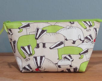 Zipper Bag, Cute Badgers, Japanese Fabric, Lime Green Lining