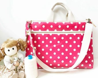 SALE-Waterproof - Macbook or Laptop bag with handles and detachable shoulder strap- Polka dots in pink