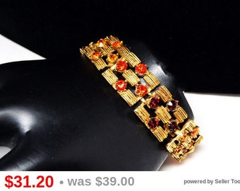 Linky Rhinestone Florenza Bracelet - Ruby Red, Topaz Yellow & Tangerine Orange - Basket Weave - Goldtone Designer Signed - Mid Century 1960s