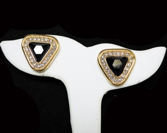 Swarovski Rhinestone Triangle Pierced Earrings - Black Center Faceted Rhinestone Framed by Clear Rhinestones - Signed S.A.L. - Vintage 1980