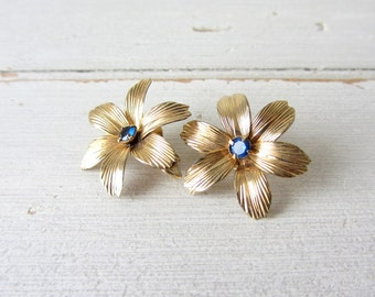 Vintage 12KT GF Flower Clip-ON Earrings with Blue Stones
