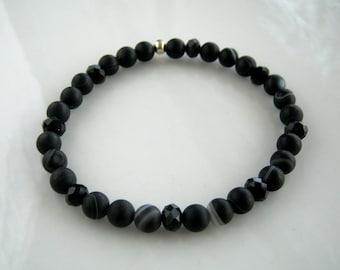 Crystal and Black Banded Agate Stretch Bracelet Black Stacking Bracelet