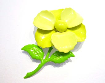 Vintage Enamel Brooch Yellow Flower Pin Gift for Her Gift for Mom Holiday Gift Idea Under 15 Hostess Gift