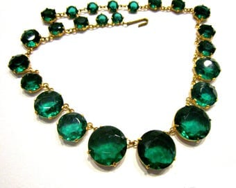 Vintage Green Rhinestone Necklace Emerald May Birthstone Round Faceted Glass Necklace Green Wedding Jewelry
