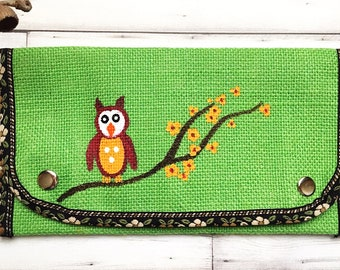 Owl Purse- Green Purse- Hand Painted Purse- Credit Card Wallet- Slim Wallet- Ladies Wallet- Wallets for Women- Mothers Day Gift- Mom Gifts