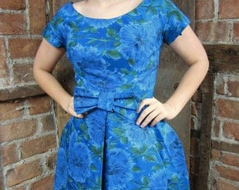On Sale 1950s Floral Watercolor Inverted pleated Dress
