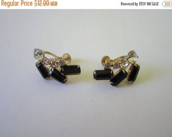 On Sale 1960s Earrings. Black Clear Stones. Retro Earrings