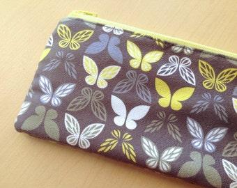 Faux suede zipper pouch : fairy wings