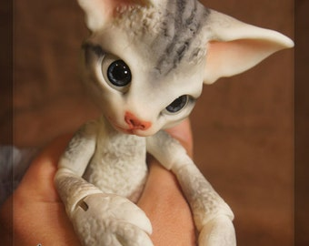 Scratch the Cat - White Resin - ball joint doll / BJD - Silver Tabby