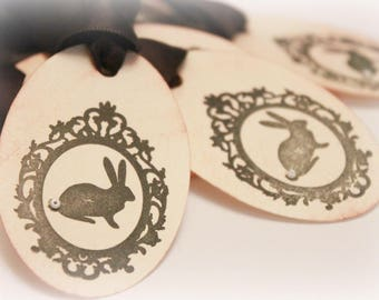 Easter Tags (Double Layered) - Bunny Tags - Rabbit Tags - Ornate Vintage Rabbit Tags - Vintage Bunny Tags - Vintage Easter Tags - Set of 8