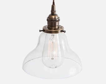 Curved Bell Glass Pendant Light - Vintage Brass - Glass Pendant Lighting Fixture - Plug In Pendant Light or Hardwire w/ Ceiling Canopy Kit