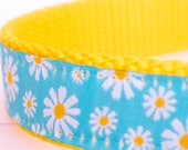 Blue Daisy Dog Collar, Girl Pet Collar, Adjustable Ribbon Dog Collar, Floral, Spring, Summer Dog Collar