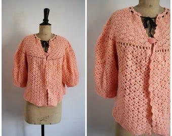Vintage 60's Baby Doll Salmon Pink Wool Crochet Handmade Cardigan/ Medium to Extra Large Size