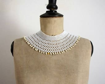 Vintage 70's Choker Necklace White Seed Beads
