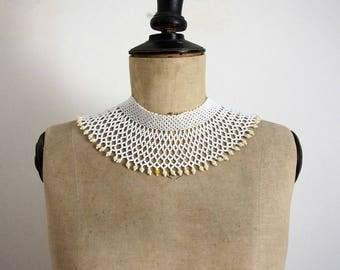 Vintage Années 70 Collier Ras du Cou en Perles de Rocaille Blanc