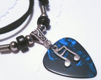 Guitar Pick Necklace - Blue Pick Necklace - Music Necklace - Music Jewelry -  Music Note - Music Note Necklace - Adjustable