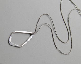 Sterling Silver Necklace Silk Minimalist Minimal Sterling Silver Pendant Handcrafted Silk Necklace Floating Wedding Small Delicate Necklace