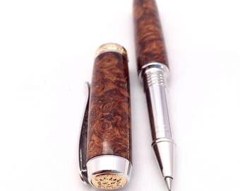 Handmade Wood Pen ** Wood Pen ** Rollerball Pen ** Honduran Rosewood Burl - Unique Desk Gift - 5th Anniversary Gift * Wood Burl