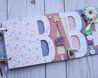 Baby girl scrapbook album, premade scrapbook, word chipboard album, baby shower gift, newborn, baby girl-BG38