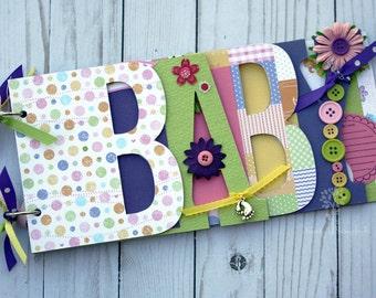 Baby scrapbook album, premade scrapbook, word chipboard album, baby shower gift, newborn, baby girl, pink-, purple -BG18
