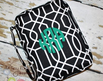 Personalized Bible Case Cover -Monogrammed Black Trellis Bible Travel Case