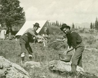 These Fellows Are WASHING Their CLOTHES In Buckets While CAMPING Photo Postcard circa 1910s
