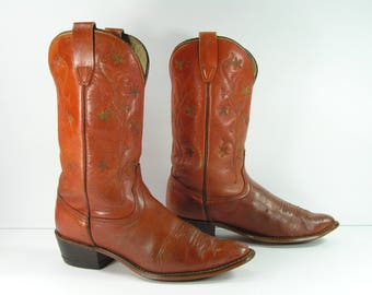 vintage wrangler cowboy boots womens 7.5 B M brown western leather