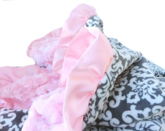 Grey, White  and Pink Damask Minky Baby Blanket with Pink Satin Ruffle Trim