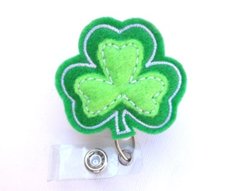 Reserved for Katy Badge reel id holder retractable - Lookin for a  Leprechaun - Shamrock St Patricks Day - nurse badge reel medical staff