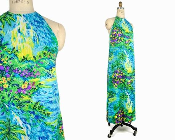 Vintage 70s Hawaiian Waterfalls Dress / Barkcloth Maxi Dress / 1970s Hawaiian Maxi Dress - women's xs/s