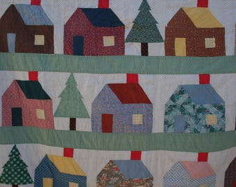 Folk Art Quilt School House Little Cottage Machine Pieced and Quilted